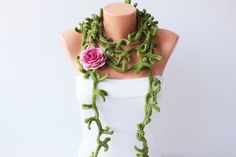 Thorny crochet  necklace scarf , crochet lariat scarf ,crochet jewelry  scarf,gift on Etsy, $35.00