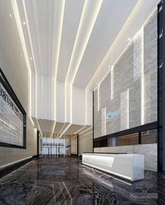 Whether you have a grand and comfortable lobby or a minimalistic and intimate one, all the elements of your hotel lobby design must be in total harmony. Hotel Lobby Design, Design Commercial, Commercial Interiors, Commercial Lighting, Lobby Interior, Interior Lighting, Lighting Design, House Ceiling Design, House Design