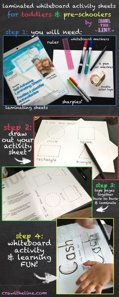 Laminated Toddler Activity Sheets - Letters, Numbers, Tracing, Colours & More (How To: http://www.crawltheline.com)