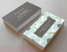 GIRLY CHIC BLUE FLORAL BUSINESS CARDS