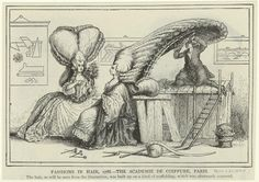 Fashions In Hair, 1788 -- The Academie De Coiffure, Paris. Reproduction of image and commentary from 1894  New York Public Library