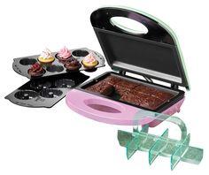 Nostalgia Electrics Bakery Bite Express Máquina 4 in 1 para Brownies, Biscoitos e Cupcakes