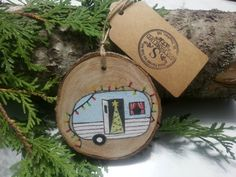 Retro Blue Camper Hand Painted Wood Slice Ornament by SeaShoreLife