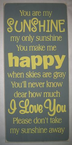 You+are+my+Sunshine+Childs+Bedroom+Nursery+by+CottageSignShoppe,+$45.00