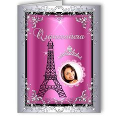 Photo Quinceanera Pink Silver Tiara Eiffel Tower Card Party Invitations by Zizzago.com