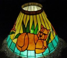 Stained Glass Hanging Lamp Ceiling Shade Tiffany Styl SLAG GLASS Brown CAT Kitty