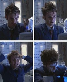 Doctor Who, the David Tennant episodes, summarized in four photos.