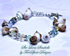 She Loves Seashells- handmade, ooak, beaded bracelet by FireSpirit Designs on Etsy, $18.00