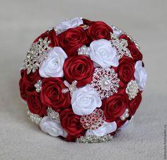 Купить Свадебный букет невесты, брошь-букет - ярко-красный, рубиновый, брошь-букет