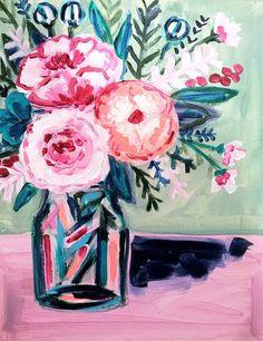 Sunday Flowers, 11 x 14 Acrylic on Canvas