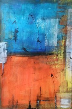 Original large Abstract blue & orage FREE SHIPPING by AbstractArtDesigns on Etsy