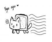 Print black and white nyan cat cute Coloring