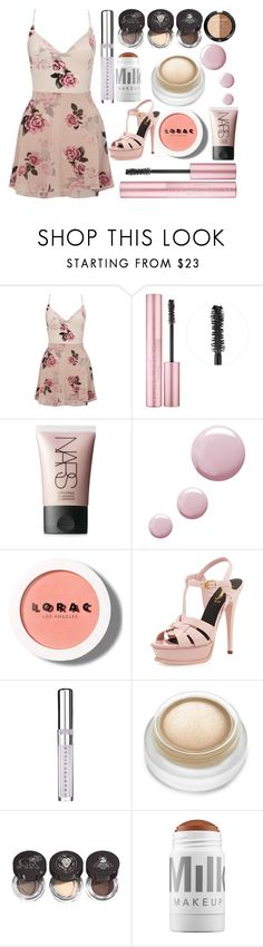 """Untitled #1407"" by cashtonlv ❤ liked on Polyvore featuring Lipsy, Too Faced Cosmetics, NARS Cosmetics, Topshop, LORAC, Yves Saint Laurent, Chantecaille, rms beauty, MILK MAKEUP and Wet n Wild"