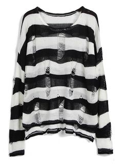 HEIDI LORDS OF SALAM   Black White Striped Long Sleeve Ripped Hollow Sweater 28.33