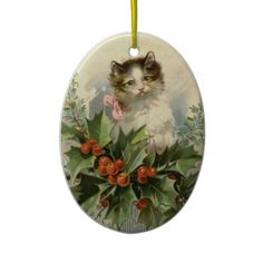 Vintage Christmas Ornament  This Christmas ornaments features a lovely vintage illustration of a cat surrounded by holly. For the c...