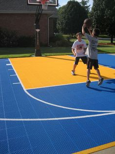Backyard basketball court layout tips and dimensions for Custom basketball court cost