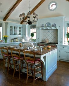 Kücheneinrichtung Ideen Trends Interior Design Country Style französisch Küche türkis