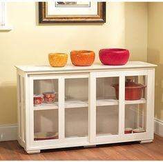 Cabinet Glass Stackable Shelf Storage Sliding Door Transitional Wood Furniture #SimpleLiving #Transitional #Cabinet #Furniture #Shelf #Storage #Furniture