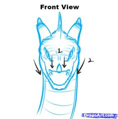 Dragon Head Drawing Front How to draw dragon heads, step by step, dragons, draw a