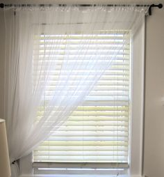 Floaty white net curtains over white blinds, diffused light, sense of breeze, lets lots of light through Curtains Over Blinds, Windows With Blinds, Curtains Uk, White Curtains, Pink Bedroom Curtains, Office Curtains, White Blinds, Diy Interior, Ikea