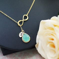 Infinity with Mint Glass Pendant Personalized Necklace - Earrings Nation
