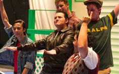 "The Fonz (Jared Morgan) in center and The Dial-Tones sing ""Oooh Bop."" From left: with Chachi (Zach Savage), Ritchie Cunningham (Marcus Stewart) Ralph Malph (Jacob Scott) and Potsie (Josh Rico.) This is a scene from the Apple Blossom musical Happy Days."