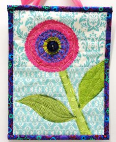 mini wall quilt purple and pink flower Bloom by moonspiritstudios, $26.00