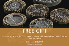 3 Shakespeare coins FREE worth £28!! - ​The Royal Mint