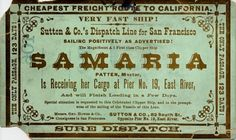vintage clipper cards were advertisements for shipping voyages, usually from a port on the east coast (New York, Boston) to the west coast (San Francisco). They were distributed by ship dispatchers in the 1800s.