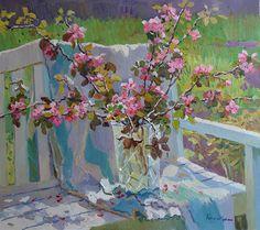 Ветки яблони, Евгений Балакшин- цветущие ветки яблони, вазе, картина импрессионизм натюрморт