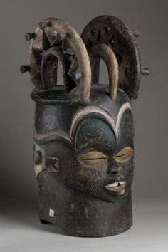 Africa | Janus Mask from the Cross River region of Nigeria | Wood and pigments