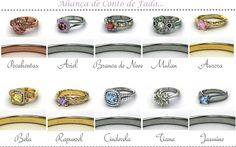 Disney Princess rings - Go to http://www.gemvara.com/Rings/ and find the ring, customize it, engrave it and tada!