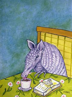 ARMADILLO COFFEE SHOP picture animal art print  8x10 signed animals new #Impressionism