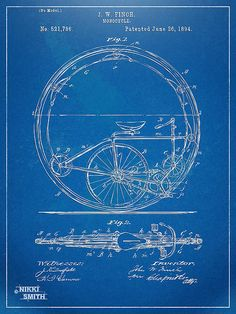 Vintage Monocycle Patent Artwork 1894 Poster by Nikki Marie Smith. All posters are professionally printed, packaged, and shipped within 3 - 4 business days. Choose from multiple sizes and hundreds of…MoreMore Vintage Wall Art, Vintage Walls, Nicola Tesla, Monocycle, Poster Prints, Art Prints, Blue Prints, Posters, Patent Drawing