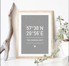 """Geschenke für die Feiertage Personalisierte Plakat """" zuhause ist da wo wir zusammen sind"""" die Koordinaten Ihres Hauses / Wohnung und Haushalt Namen. Die einzigartige Dekoration Ihrer Wände..."""