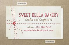 Great idea for a bakery business card!
