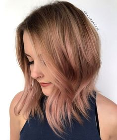 Mid Bob with Rose Gold