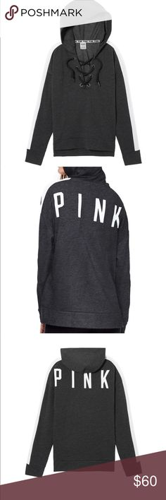 VS Pink Slouchy Lace-Up Pullover Dark Gray Hoodie Dark gray laceup hoodie by VS Pink. Unavailable online, new without tags. Didn't come with tags attached- just in plastic bag. So soft and roomy. This is a great hoodie. PINK Victoria's Secret Tops Sweatshirts & Hoodies