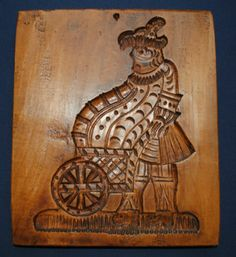 ANTIQUE DUTCH CARVED COOKIE MOLD SPRINGERLE MAN with CART