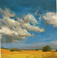 Such striking blues and yellows in this painting Sky Painting, Abstract Landscape Painting, Landscape Art, Painting & Drawing, Landscape Paintings, Paintings I Love, Painting Techniques, Painting Inspiration, Paul Wright