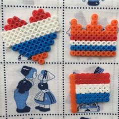 Koningsdag DIY | Speldjes van strijkkralen + free printable raamtekening Bead Crafts, Diy And Crafts, Crafts For Kids, Arts And Crafts, Melting Beads, Tissue Box Covers, Perler Beads, Holland, Plastic Canvas