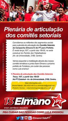 Convidamos toda a militância para a Plenária de articulação dos comitês setoriais, nesta terça (10), às 18h 30.