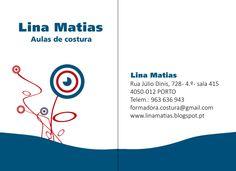 O cartão das Aulas de Costura Lina Matias.