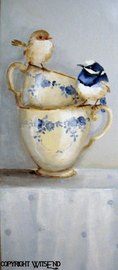 'A SPOT OF TEA FOR TWO', Birds Teacups painting ooak original still life art FREE