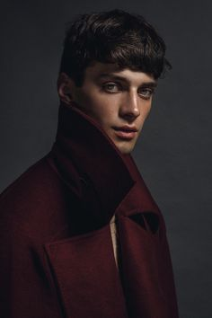 trickymintty:  Matthew Bell, ph by Philip Neufeldt..Men's burgundy coat