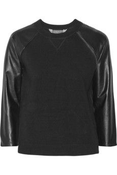 Reed Krakoff Leather-paneled cashmere, wool and silk-blend top | NET-A-PORTER