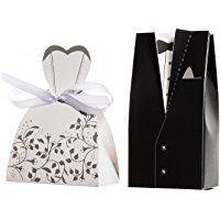 JZK® 100 x Scatolina scatola portaconfetti portariso bomboniera segnaposto per matrimonio nozze anniversario compleanno battesimo laurea festa bomboniere scatoline scatole carta porta confetti riso regalo, sposa e sposo B