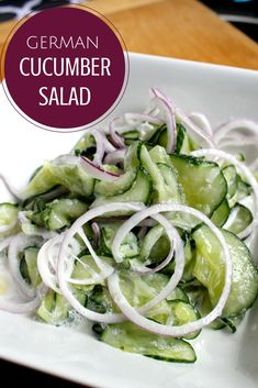 This amazing German Cucumber Salad is the perfect side for your cucumbers from the garden.  It's crisp and tangy and comes from my grandma's family.  Enjoy!