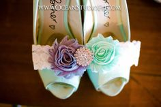 Shoes and garter. Mint green, white and grey