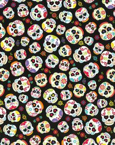 joanns Novelty Cotton Fabric- Skulls All Over On Black